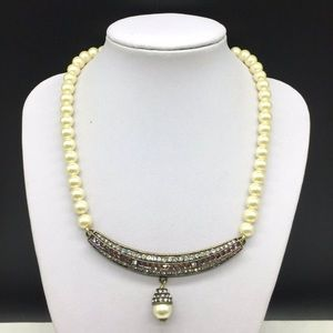 Heidi Daus Faux Pearl Crystal Bar None Necklace